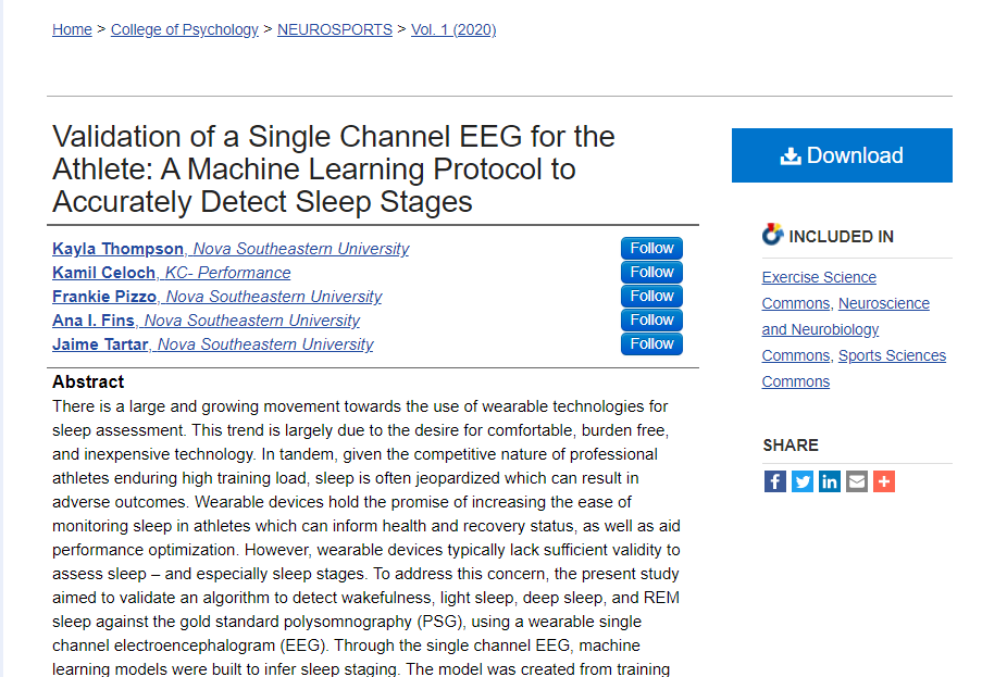 Validation of a Single Channel EEG for the Athlete: A Machine Learning Protocol to Accurately Detect Sleep Stages
